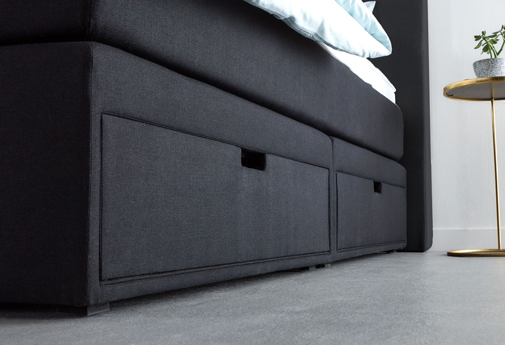 Zwarte Boxspring Home Storage