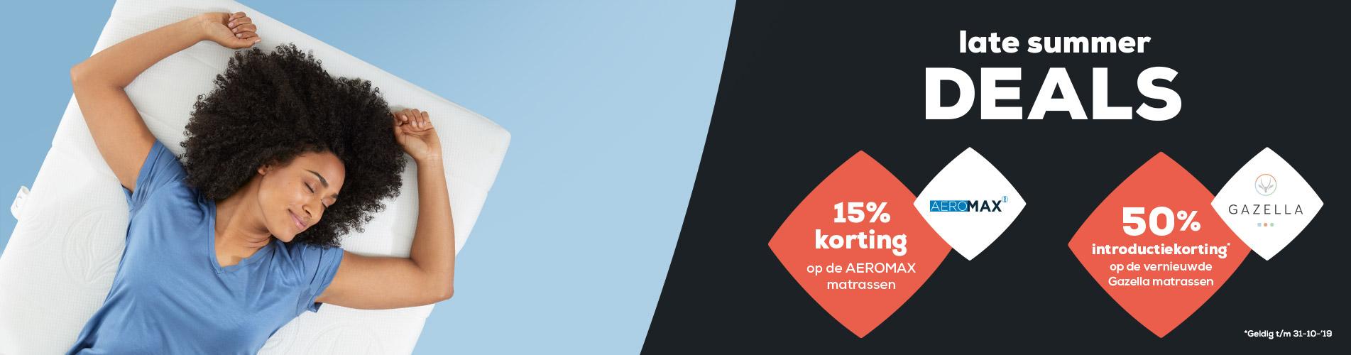 Matrassen | Gazella matrassen 50% introductievoordeel | AEROMAX matrassen 15% korting | Swiss Sense