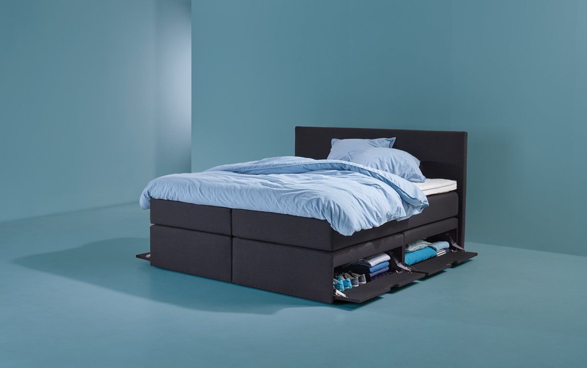 Zwarte Boxspring Home SMART storage 01